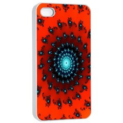 Red Fractal Spiral Apple Iphone 4/4s Seamless Case (white) by Simbadda