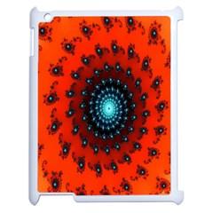 Red Fractal Spiral Apple Ipad 2 Case (white) by Simbadda