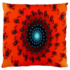 Red Fractal Spiral Large Cushion Case (two Sides) by Simbadda