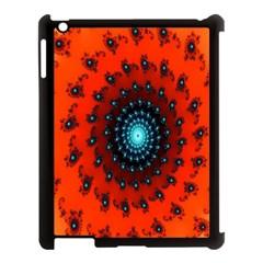 Red Fractal Spiral Apple Ipad 3/4 Case (black) by Simbadda