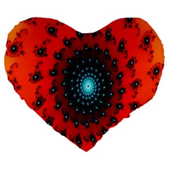 Red Fractal Spiral Large 19  Premium Heart Shape Cushions by Simbadda