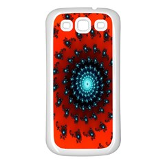 Red Fractal Spiral Samsung Galaxy S3 Back Case (white) by Simbadda