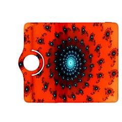 Red Fractal Spiral Kindle Fire Hdx 8 9  Flip 360 Case by Simbadda