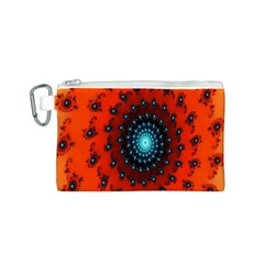 Red Fractal Spiral Canvas Cosmetic Bag (s) by Simbadda