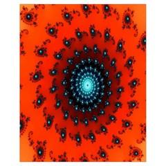 Red Fractal Spiral Drawstring Bag (small) by Simbadda