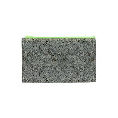 Silver Tropical Print Cosmetic Bag (xs) by dflcprints