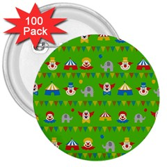 Circus 3  Buttons (100 Pack)  by Valentinaart