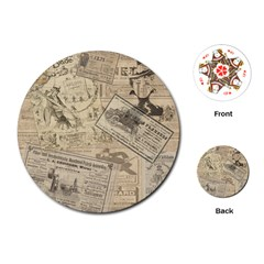 Vintage Newspaper  Playing Cards (round)  by Valentinaart