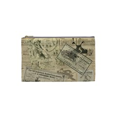 Vintage Newspaper  Cosmetic Bag (small)  by Valentinaart