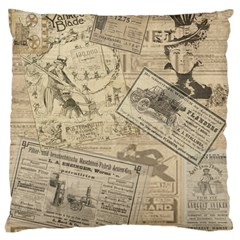 Vintage Newspaper  Large Cushion Case (one Side) by Valentinaart
