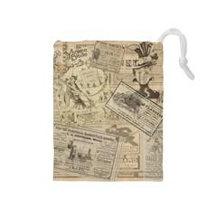 Vintage Newspaper  Drawstring Pouches (medium)  by Valentinaart