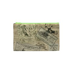 Vintage Newspaper  Cosmetic Bag (xs) by Valentinaart