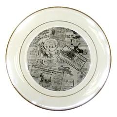 Vintage Newspaper  Porcelain Plates by Valentinaart