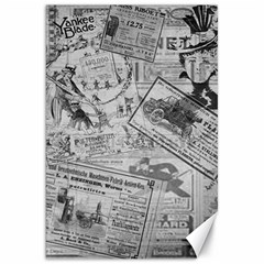 Vintage Newspaper  Canvas 20  X 30   by Valentinaart