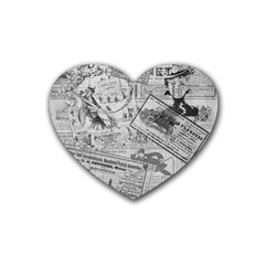 Vintage Newspaper  Rubber Coaster (heart)  by Valentinaart