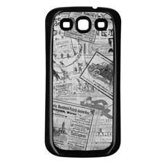 Vintage Newspaper  Samsung Galaxy S3 Back Case (black) by Valentinaart