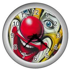 Clown Wall Clocks (silver)  by Valentinaart