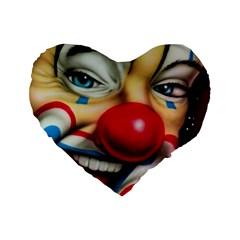 Clown Standard 16  Premium Heart Shape Cushions by Valentinaart