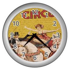 Vintage Circus  Wall Clocks (silver)  by Valentinaart