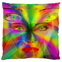 Rainbow Girl Large Cushion Case (one Side) by Valentinaart