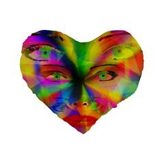 Rainbow Girl Standard 16  Premium Heart Shape Cushions by Valentinaart