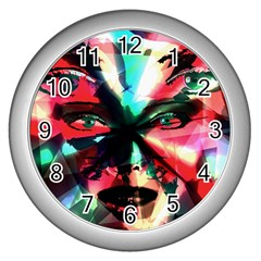 Abstract Girl Wall Clocks (silver)  by Valentinaart