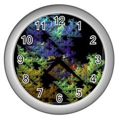 Fractal Forest Wall Clocks (silver)  by Simbadda