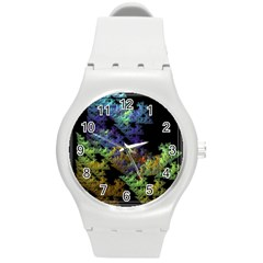 Fractal Forest Round Plastic Sport Watch (m) by Simbadda