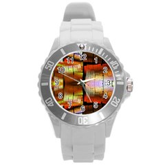 Fractal Tiles Round Plastic Sport Watch (l) by Simbadda