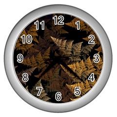 Fractal Fern Wall Clocks (silver)  by Simbadda