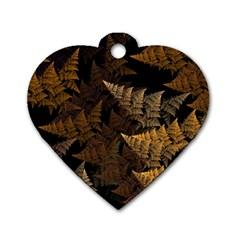 Fractal Fern Dog Tag Heart (two Sides) by Simbadda