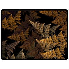 Fractal Fern Double Sided Fleece Blanket (large)  by Simbadda