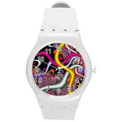 Fractal Roots Round Plastic Sport Watch (m) by Simbadda