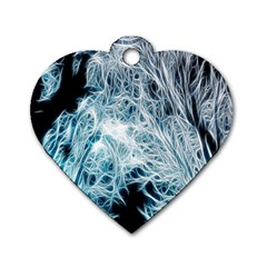 Fractal Forest Dog Tag Heart (two Sides) by Simbadda