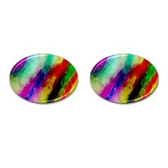 Abstract Colorful Paint Splats Cufflinks (oval) by Simbadda