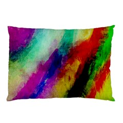 Abstract Colorful Paint Splats Pillow Case (two Sides) by Simbadda