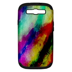 Abstract Colorful Paint Splats Samsung Galaxy S Iii Hardshell Case (pc+silicone) by Simbadda