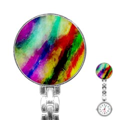 Abstract Colorful Paint Splats Stainless Steel Nurses Watch by Simbadda