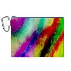 Abstract Colorful Paint Splats Canvas Cosmetic Bag (xl) by Simbadda