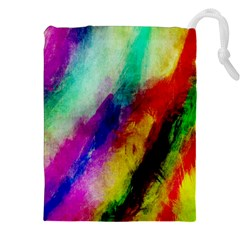 Abstract Colorful Paint Splats Drawstring Pouches (xxl) by Simbadda
