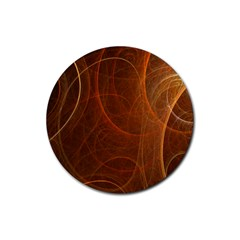 Fractal Color Lines Rubber Coaster (round)  by Simbadda