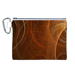 Fractal Color Lines Canvas Cosmetic Bag (l) by Simbadda