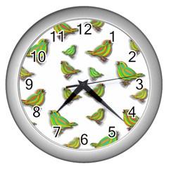 Birds Wall Clocks (silver)  by Valentinaart