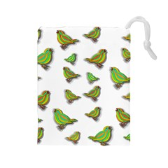 Birds Drawstring Pouches (large)  by Valentinaart