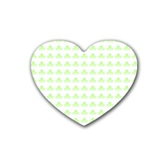 Shamrock Irish St Patrick S Day Rubber Coaster (heart)  by Simbadda