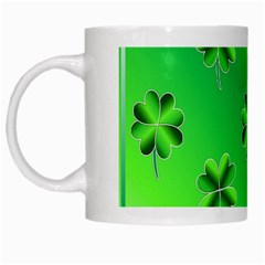 Shamrock Green Pattern Design White Mugs by Simbadda