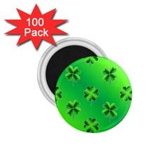 Shamrock Green Pattern Design 1 75  Magnets (100 Pack)  by Simbadda