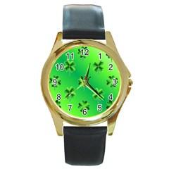 Shamrock Green Pattern Design Round Gold Metal Watch by Simbadda