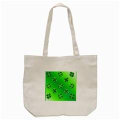 Shamrock Green Pattern Design Tote Bag (cream) by Simbadda