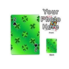 Shamrock Green Pattern Design Playing Cards 54 (mini)  by Simbadda
